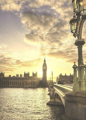 Sunset, Thames River, London, England