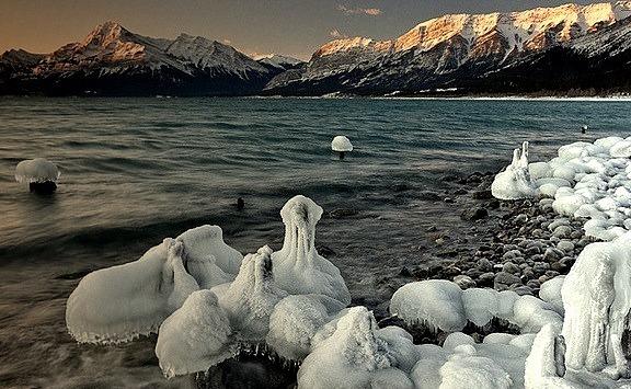 by darwinwiggett on Flickr.Abraham Lake in the winter, Kootenay Plains, Alberta, Canada.