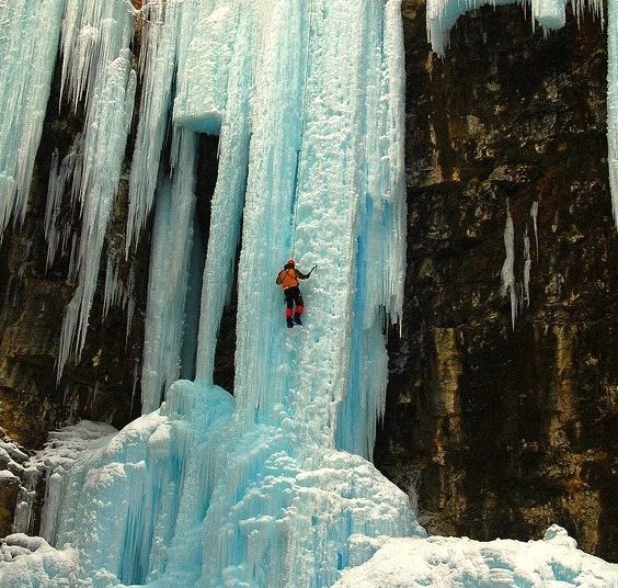 by alexander.garin on Flickr.Ice climbing in Johnston Canyon, Banff National Park, Canada.