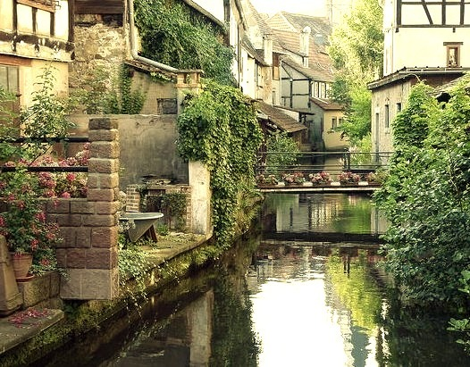 Water reflections in Wissembourg, Alsace, France