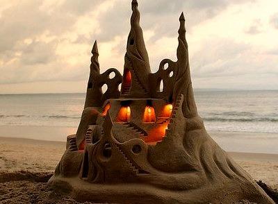Illuminated Sand Castle, Rio De Janeiro, Brazil
