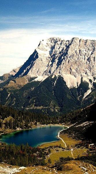 Zugspitze range high above the Seebensee lake, Bavaria, Germany