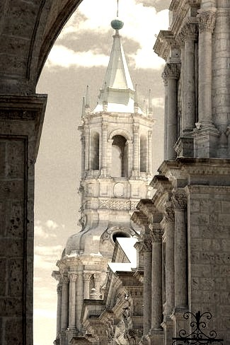 Cathedral view in Arequipa. Peru