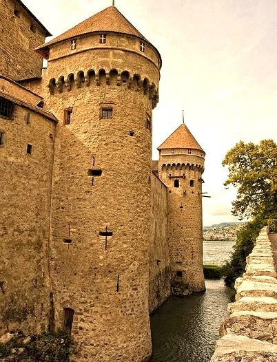 Chateau de Chillon towers on the shores of Lake Geneve, Switzerland