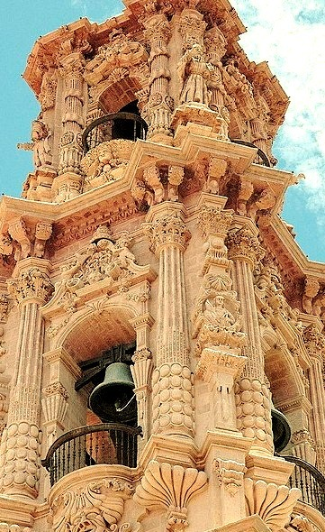 The baroque bell tower of Santa Prisca Church in Taxco, Mexico