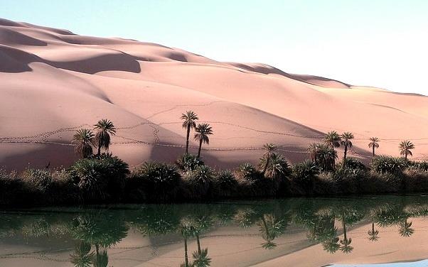 Reflections at Ramlat Dawada Lake in Sahara Desert, Libya