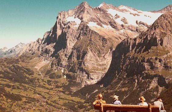 Looking towards Grindelwald and the Schreckhorn, Switzerland