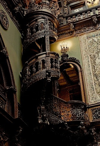 Wood Carved Staircase, Pele's Castle, Romania.