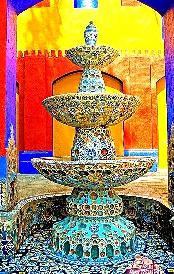 Colorful fountain at Ex-Hacienda de Chautla in Puebla, Mexico
