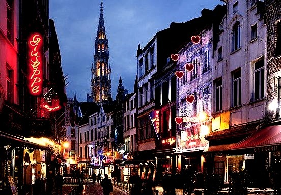Night scene in the old town of Brussels, Belgium