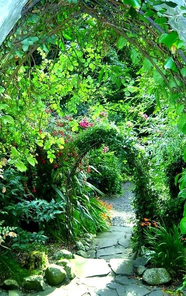 Steps to the garden at Ballygally Castle in Northern Ireland