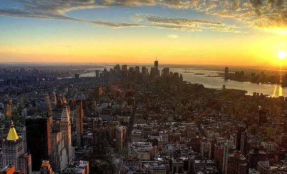 A Manhattan sunset, New York, USA