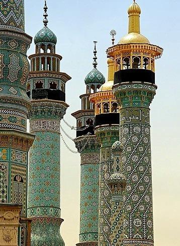 Fatima shrine minarets in Qom / Iran