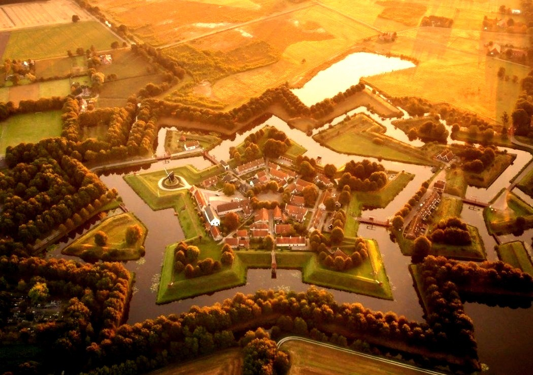 Drone view of Bourtange star fort / Netherlands